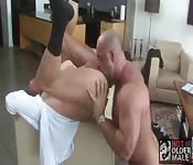 Brawny mature man tongue fucking his sexy lover