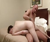 Dirty tattooed guy finger fucking his lover