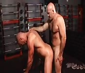 Two amateur muscle men rim and fuck