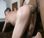 Hard black cock stretches his ass