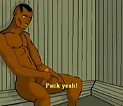 Animated ebony-skinned gay hunk playing with his cock