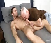 Hot hunk getting blown by a dirty old man