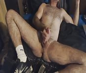 Hairy older man tugging his big pecker