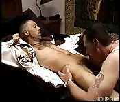 Scruffy gay guy getting his cock sucked by a stranger