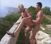 Two horny gays fuck right outside