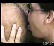Uninhibited Latino licking a stranger's hairy asshole