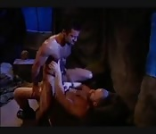 Burly dark-haired hunk getting screwed in the ass