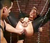 Sex swing, leather and anal