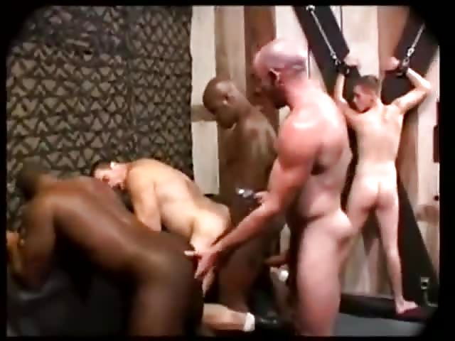 Closeup gay orgy with a blindfolded twink