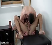 Sexy massage in a hot room turns him on
