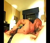 Bearded older stud enjoying a fantastic handjob
