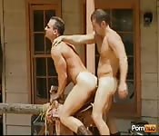Dirty tanned cowboy drilling his lover in the ass