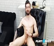 Handsome bearded gay masturbates