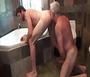 Kinky old man licking his lover's asshole