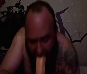 Mature  gay  dude  sucks  insanely  long  cock