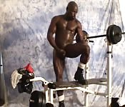 Huge black dude wanking post workout