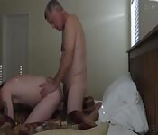 Daddy and his twink in hotel room fuck
