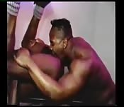 Herculean black hunk licking his lover's asshole