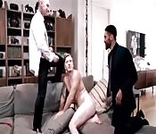 Two guys in a suit fucking slut twink