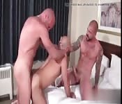 Three muscular guys covered in cum