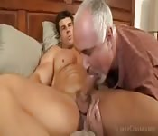 Huge muscular straight dude sucked by the producer