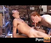 Long-haired ginger dude sucks a cock