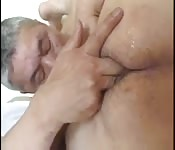 Chubby Asian dude finger fucking his horny lover