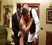 Three muscle jocks in wild anal