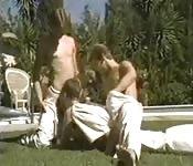 Vintage martial arts twink threesome