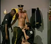 Dishy uniformed hunk having interracial threeway fun
