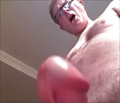 Hairy Chested Dad Jerks Off Hard