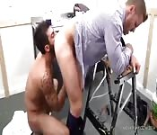 Tattooed hunk licking his lover's asshole