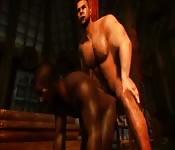 Una scopata interrazziale con l'uomo muscoloso