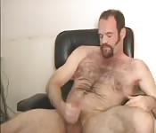 Muscular and beard gay masturbation