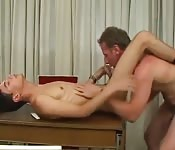 Daddy and twink in amazing table fuck