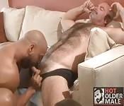 Mec mature sexy se fait sucer la bite