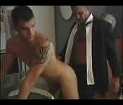 Tantalizing tattooed hunk enjoying a great ass fuck