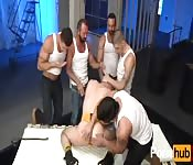 Naughty dude participating in a group fuck
