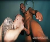 Loose Latin dude enjoying interracial oral sex
