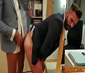 Hunks in a suit in office fuck