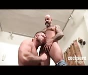 Big strong man getting his prick sucked