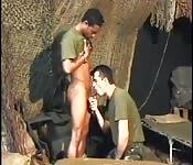 Военный готов получить черный член