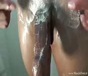 Black dude wanking his monster cock in the shower