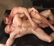 Muscular lovers fucking doggy style