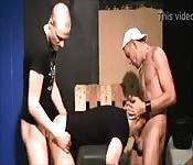Balding dude enjoying a fantastic threesome