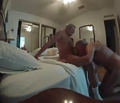 Fat old man enjoying an awesome blowjob