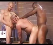 Black stud enjoying a hardcore interracial threesome