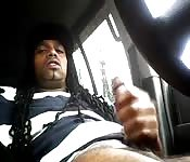 Long-haired black guy busts a nut in his car