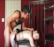 Leather twinks in deep anal