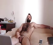 Hairy daddy jerking off at home